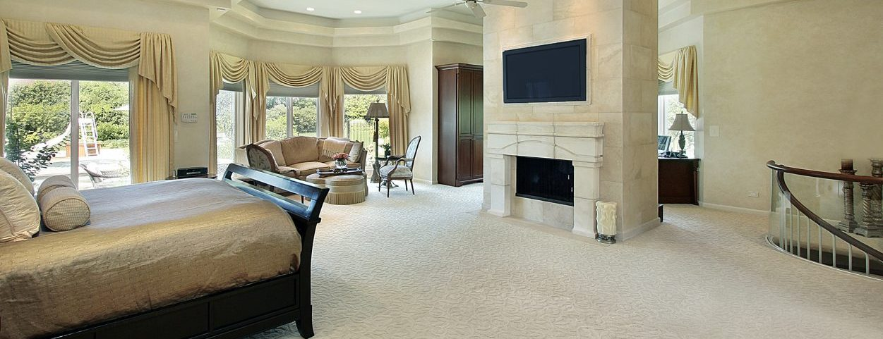 Luxury Master Bedroom with Fireplace
